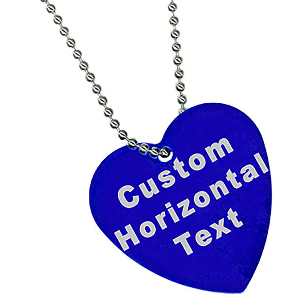 Custom No. 1 BLUE Anodized 1.5 Inch HEART Necklace
