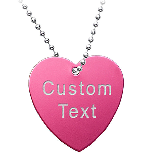 Custom No. 1 PINK Anodized 1.5 Inch HEART Necklace