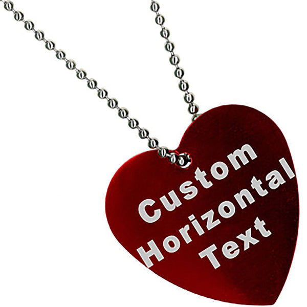 Custom No. 1 RED Anodized 1.5 Inch HEART Necklace