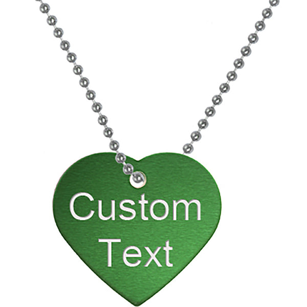 Custom No. 3 GREEN Anodized 1.25 Inch HEART Necklace