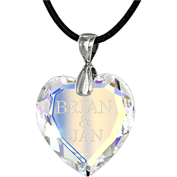 Custom Austrian Crystal Aurora Crystal HEART Leather Necklace