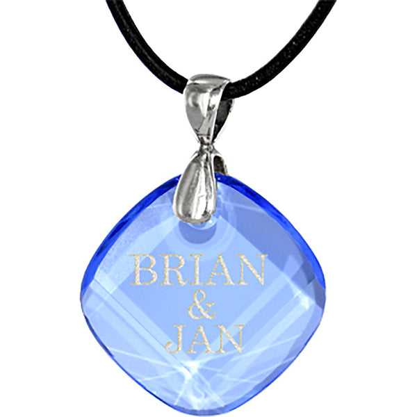 Custom Austrian Crystal Light Sapphire Crystal Leather Necklace