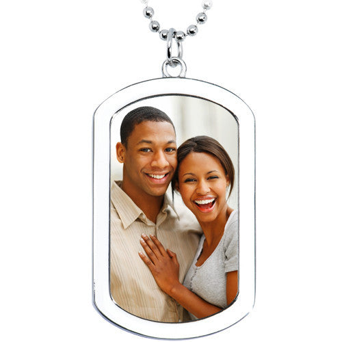 Personalized Dog Tag Photo Pendant Created with Swarovski Crystals
