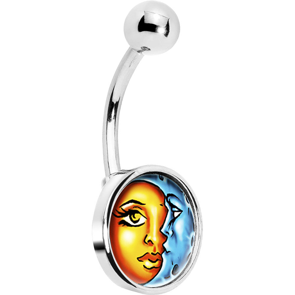 Celestial Sun And Moon Belly Ring