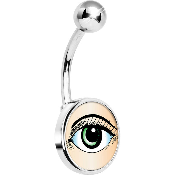 Stainless Steel Green Open Eye Belly Ring