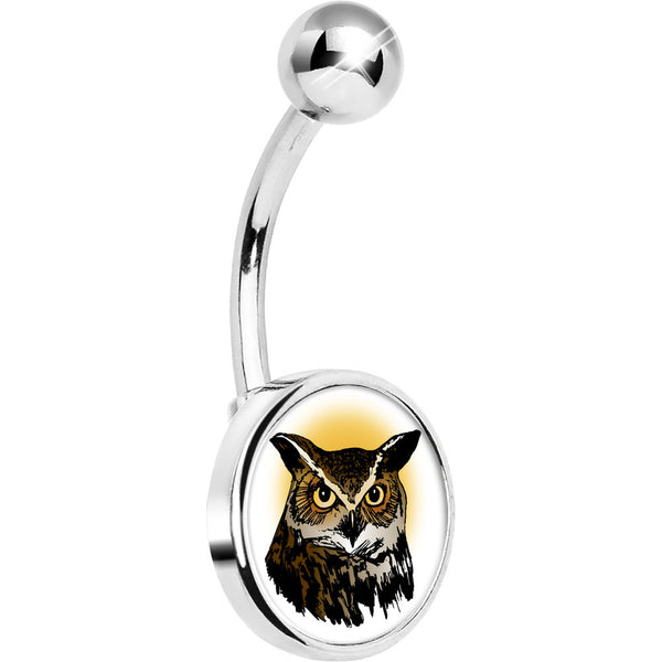 Stainless Steel Brown Horned Owl Belly Ring