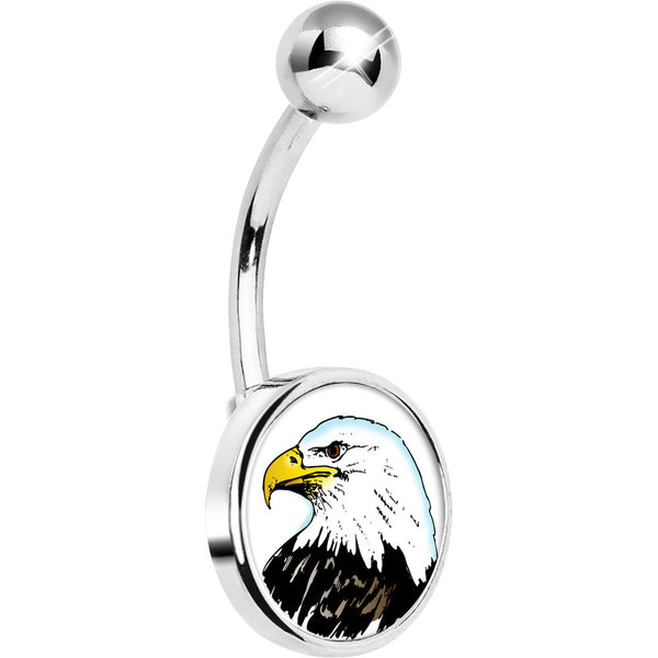 Stainless Steel Proud Bald Eagle Belly Ring