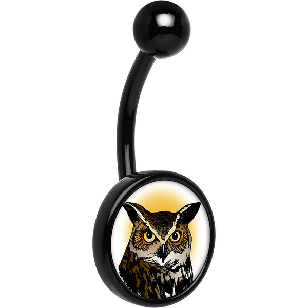 Black Anodized Titanium Brown Horned Owl Belly Ring