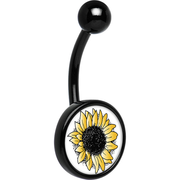 Black Anodized Titanium Yellow Sunflower Belly Ring