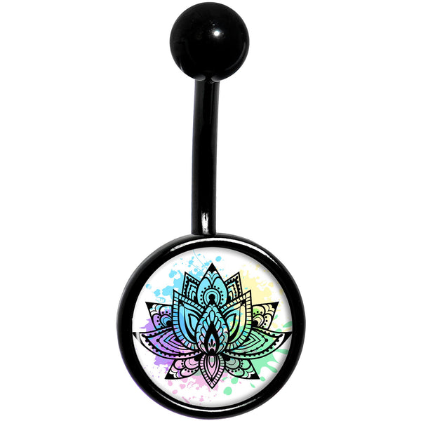 Blooming Symbolic Lotus Flower Black Belly Ring