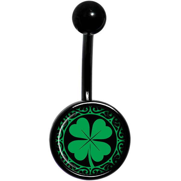 Green St Patricks Day Shamrock Black Belly Ring