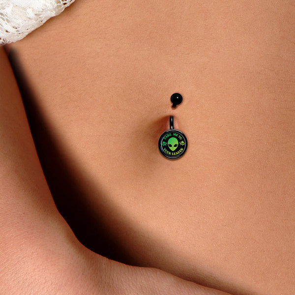 Take Me To Your Leader Black Belly Ring