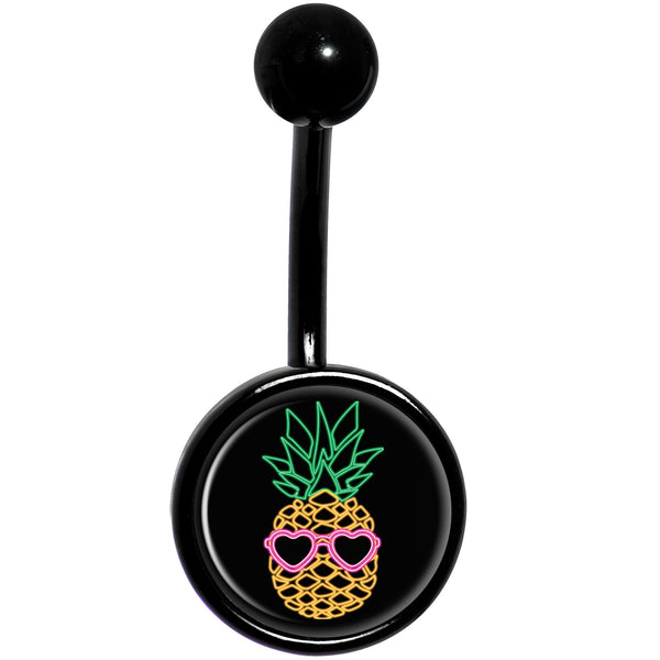 Neon Heart Tropical Pineapple Black Belly Ring