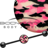 14 Gauge Black Glow in the Dark Pink Camo Industrial Barbell 37mm