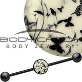 14 Gauge Black Glow in the Dark Mono Butterfly Industrial Barbell 37mm