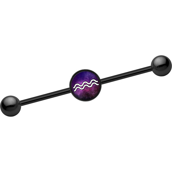 14 Gauge Black Anodized Galaxy Aquarius Zodiac Industrial Barbell 37mm