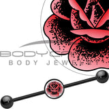 14 Gauge Black Anodized Pink Stippled Rose Flower Industrial Barbell 37mm
