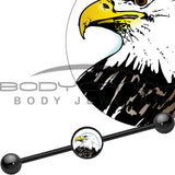 14 Gauge Black Anodized Proud Bald Eagle Industrial Barbell 37mm