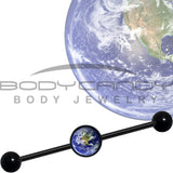 14 Gauge Black Anodized Vivid Earth Orbit Logo Industrial Barbell 37mm