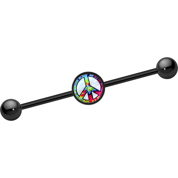 Mother of Pearl Tie Die Peace Sign Industrial Barbell