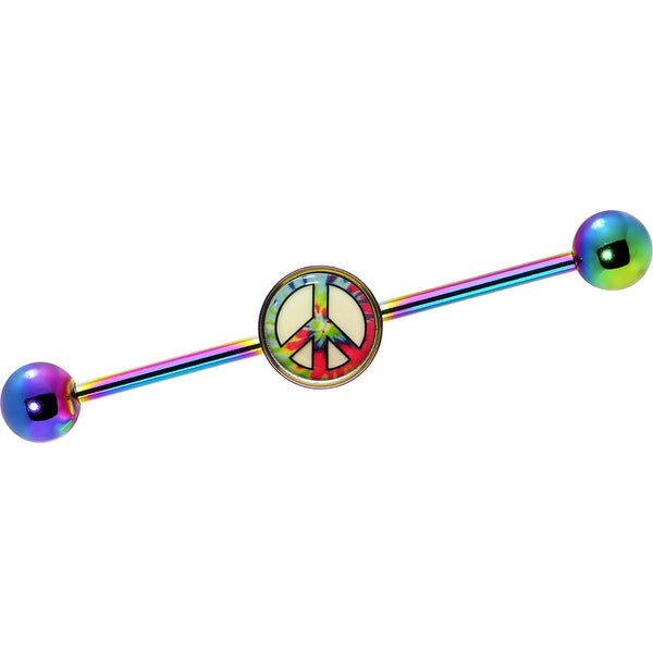 Glow in the Dark Tie Dye Peace Sign Industrial Barbell in Rainbow Titanium