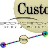 Custom Glow in the Dark Personalized Industrial Barbell in Rainbow Titanium