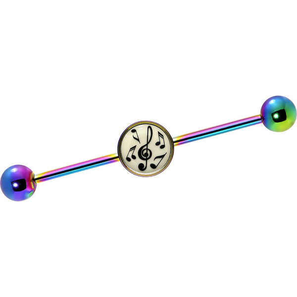 Glow in the Dark Music Notes Industrial Barbell in Rainbow Titanium