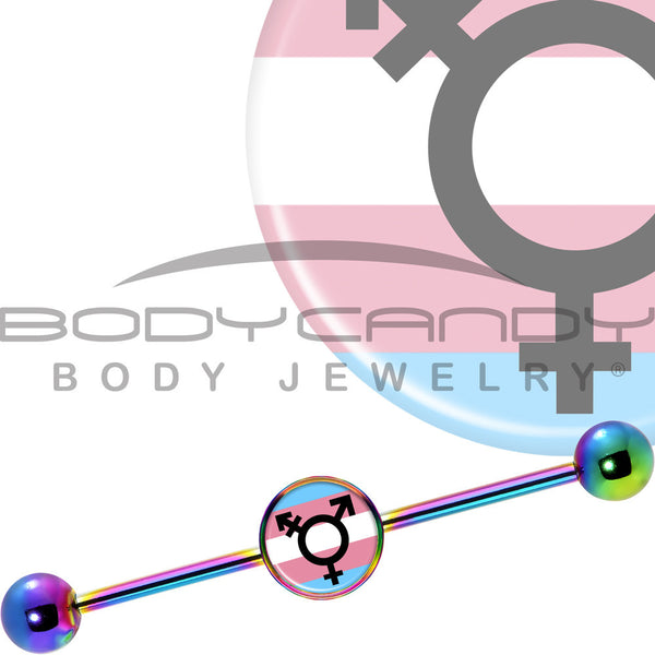 14 Gauge Rainbow Anodized Transgender Logo Industrial Barbell 37mm