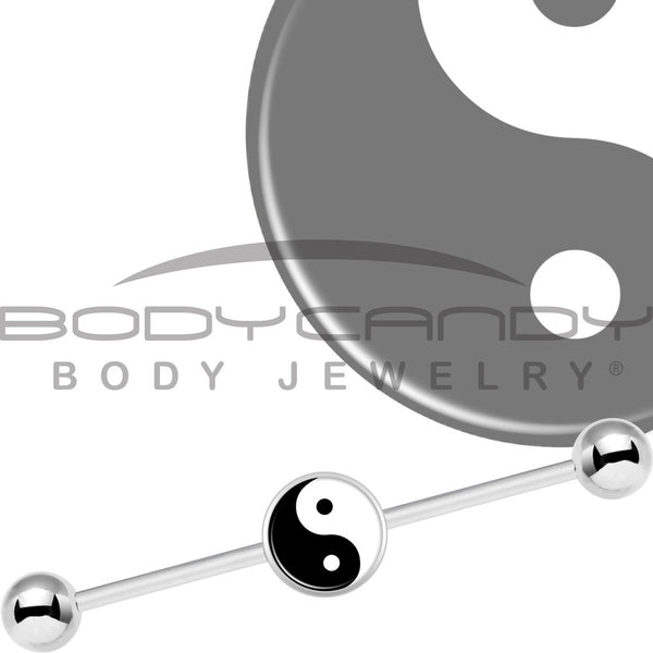 Stainless Steel Yin Yang Industrial Barbell 37mm