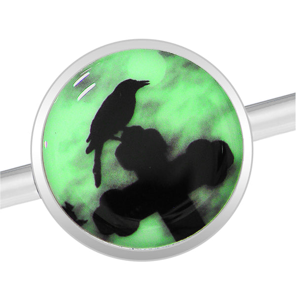 Glow in the Dark Raven on Cross Industrial Barbell in Stainless Steel