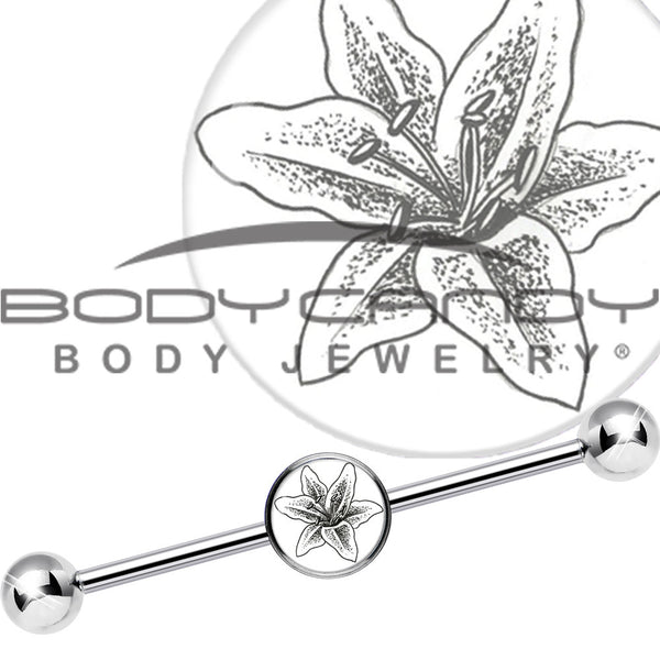 14 Gauge Artsy Lily Flower Industrial Barbell 37mm