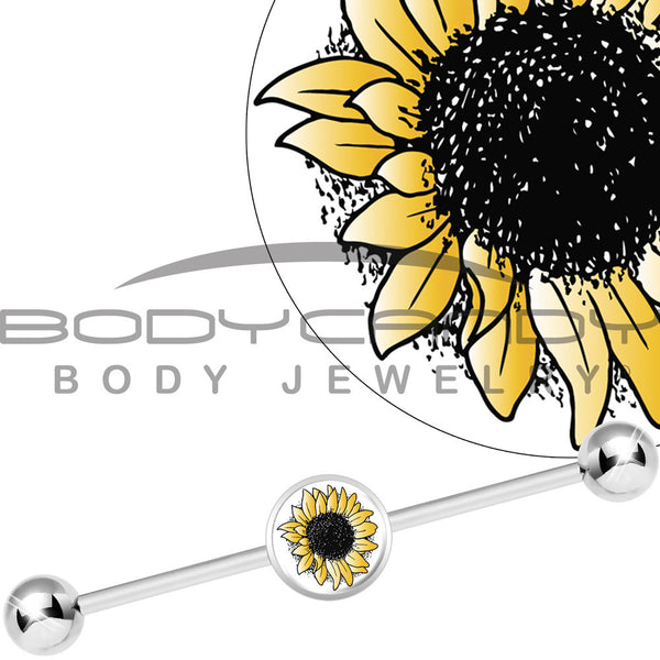 Stainless Steel Yellow Sunflower Industrial Barbell
