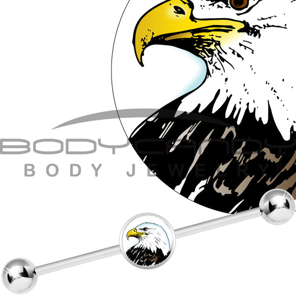 Stainless Steel Proud Bald Eagle Industrial Barbell