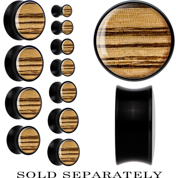 Black Acrylic Zebra Wood Inlay Saddle Plug