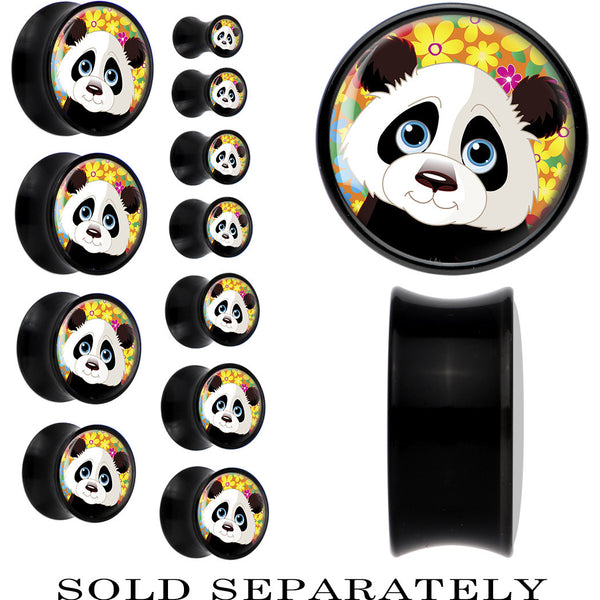 Black Acrylic Baby Panda Bear Saddle Plug