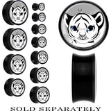 Black Acrylic Black and White Baby Tiger Saddle Plug