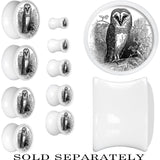 White Acrylic Black and White Owl Saddle Plug