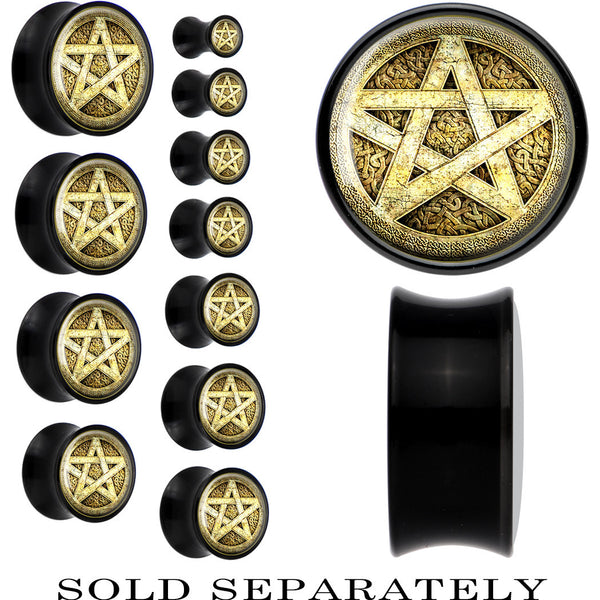 Black Acrylic Pagan Star Saddle Plug