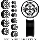 Black Acrylic Black and White Celtic Cross Saddle Plug