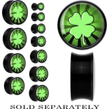 Black Acrylic Lucky Four Leaf Clover Saddle Plug