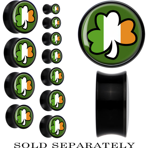 Black Acrylic Lucky Ireland Shamrock Saddle Plug