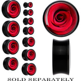 Black Acrylic Close Up Red Rose Flower Saddle Plug