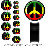 Black Acrylic Rasta Peace Sign Saddle Plug