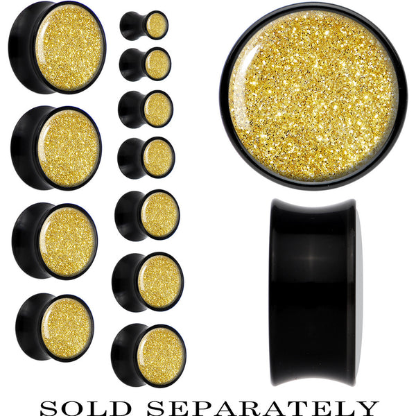 Black Acrylic Gold Rush Glitter Saddle Plug
