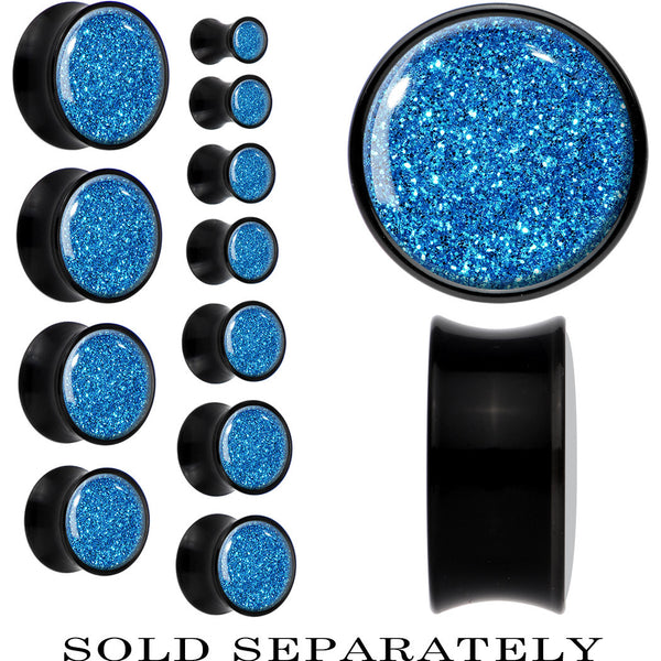 Black Acrylic Island Blue Glitter Saddle Plug