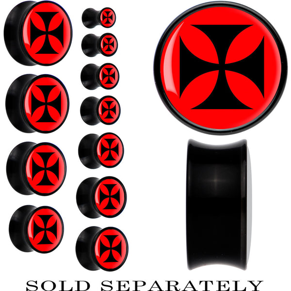 Black Acrylic Red Black Iron Cross Saddle Plug