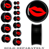 Black Acrylic Black Red Hot Lips Saddle Plug