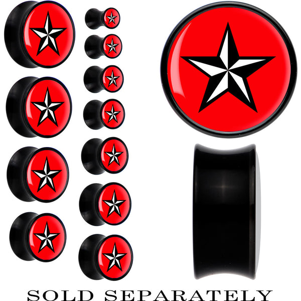 Black Acrylic Red Nautical Star Saddle Plug