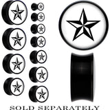 Black Acrylic White Nautical Star Saddle Plug