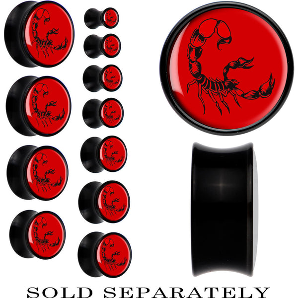 Black Acrylic Red Black Scorpion Saddle Plug